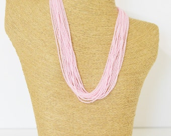 Pink seed bead necklace, seed bead necklace, baby pink,light pink necklace,powder pink necklace, pink beaded necklace, beaded necklace, pink