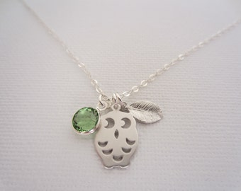 Necklace Owl, Leaf and Birthstone,Owl necklace - Sterling silver chain