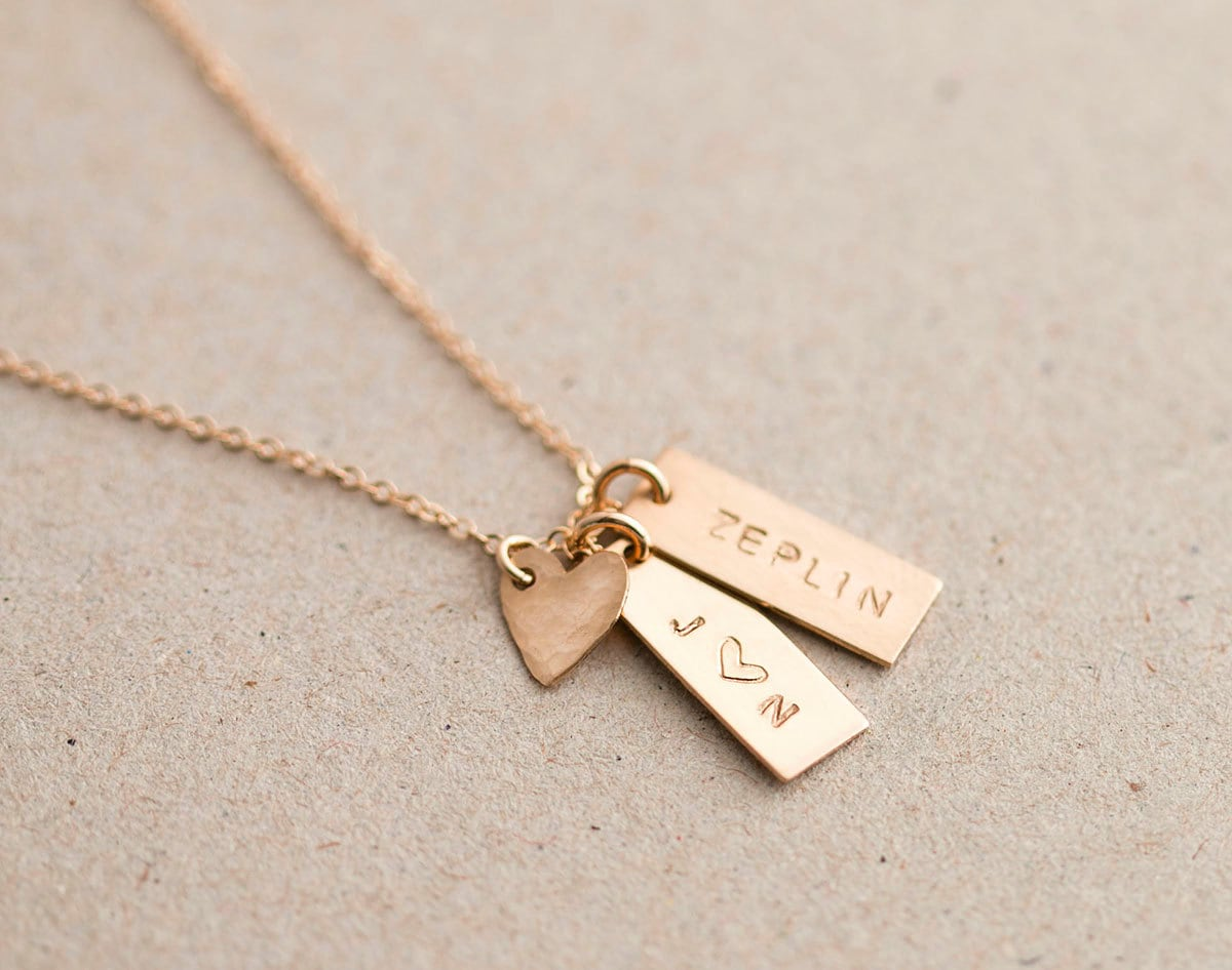 Personalized Small Tag Necklace Simple Initial Tag Necklace