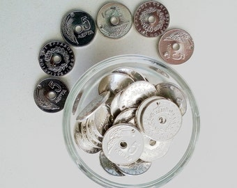 Greek Old Coins, 10 pcs Greek Coin Charms, 5 Cents Silver Coin Replica, Jewelry Making Parts, Steampunk, DIY projects