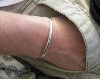 Sterling Silver Cuff Bracelet - Plain Cuff Design - Half-round shank - weighty comfortable