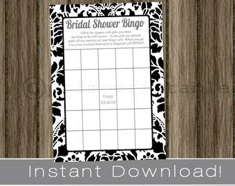 BRIDAL Shower Bingo Game Cards black and white damask , INSTANT DOWNLOAD , diy digital printable file, print your own, wedding shower idea