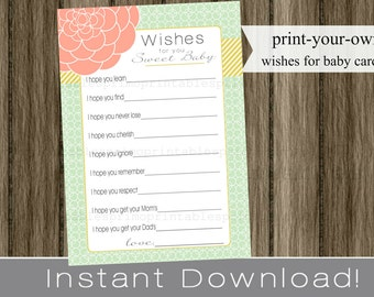 Baby Shower Wishes for Baby girl , mint and coral and gold , INSTANT DOWNLOAD diy digital printable file print your own , babyshower idea