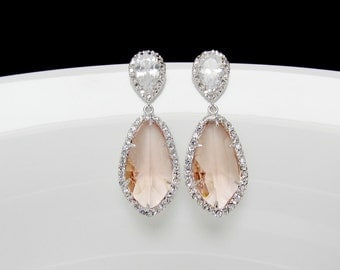 bridal blush earrings , silver peach earrings , bridal champagne earrings , wedding peach jewelry , peach pave earrings, bridesmaids jewelry