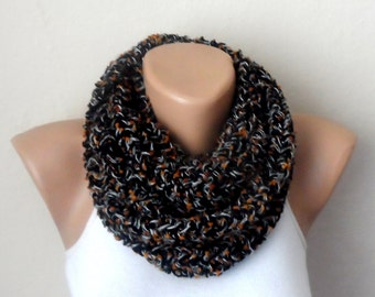 black knit infinity scarf  multicolor scarf mealy circle scarf