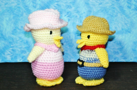 Amigurumi Cowboy Hat : Crochet Cowboy Ducks-Mr. and Mrs. Cowboy Duck-Pair of Ducks