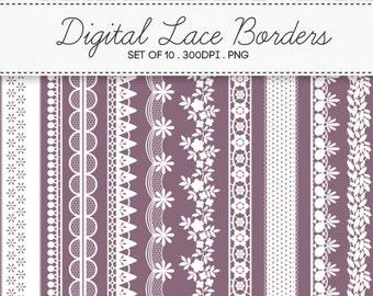 Digital Lace Borders Frames / INSTANT DOWNLOAD / Clip Art Set of 10 / 161