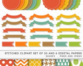 Stitched Digital Banners Ribbons Labels Clipart Set of 30 / INSTANT DOWNLOAD / 6 Digital Papers / 112