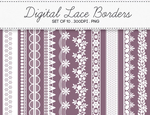 Digital Lace Borders Frames / INSTANT DOWNLOAD / Clip Art Set