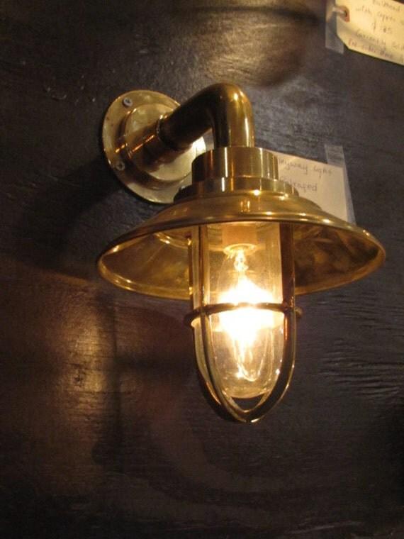 Vintage Brass Alleyway Light With Brass Shade Restored