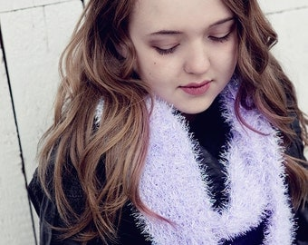 Purple scarf, ultra soft, knitted, handmade, eternity scarf, sparkle, fuzzy, available in pink as well