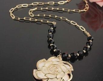 White 14k GF rose necklace