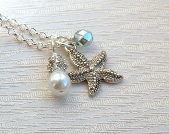 Starfish Necklace, Bridesmaid Gift Jewelry Necklace, Beach Wedding, Necklace, Flower Girl Gift, Starfish Necklace, Wedding Jewelry