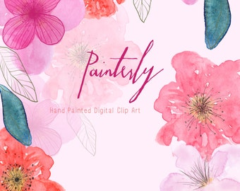 Watercolour Flowers - Hand Painted Clip Art - Painterly