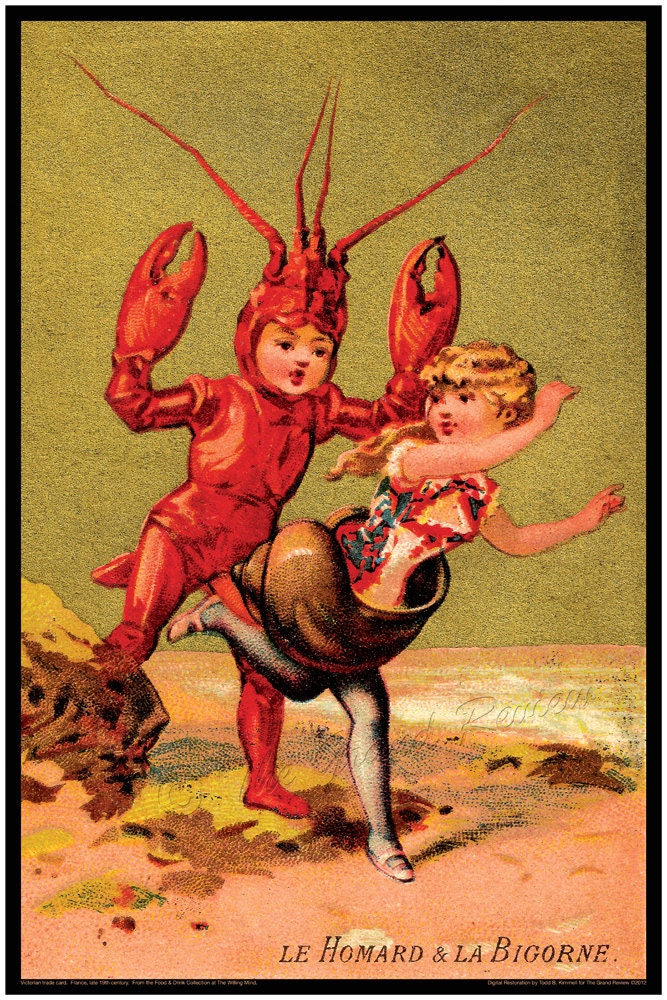 Antique French Print Lobster Boy Meets Escargot Girl Hard