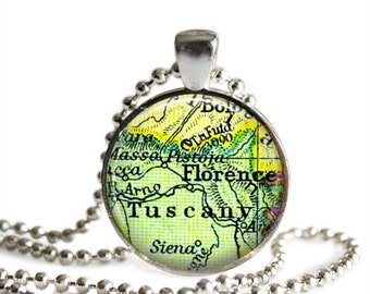 Florence map pendant and necklace, vintage Tuscany map pendant, Italy honeymoon world travel gift.