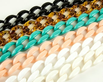 20 pcs Colored Plastic Chain Links, 38x27mm Acrylic Chain Links, L0MQ