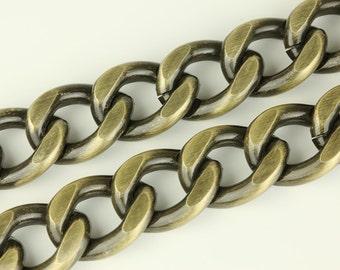 3ft Antique Bronze Chain, Chunky Chain, Twisted Curb Chain, Aluminum Chain, 20x25mm, CB002.AB