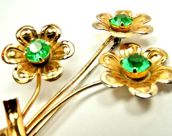 Vintage Coro Brooch with Flowers and Light Green Rhinestones - some damage