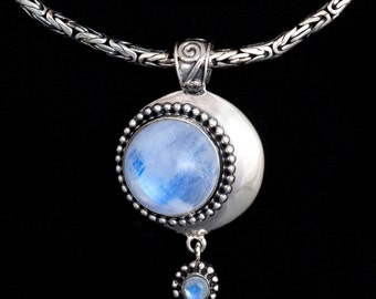 Sterling Silver Moonstone Moon Necklace: LUNA