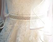 Feminine Wedding Crystal Beaded Satin Sash, Bridal Belt, Headpiece, Rhinestone Sash - Erin Belt