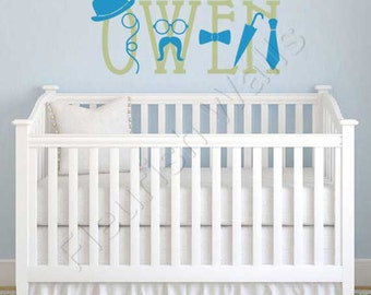 Baby Boy Wall Decal - Personalized Name Decal - Boys Bedroom Wall Decal - Baby Boy Nursery Name Decal - Nursery Wall Decal - Vinyl BN035