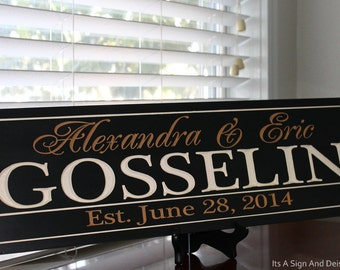 Family Name Signs, Christmas Gift for Him, Custom Wooden Signs, Last Name Sign, Engraved Custom Wedding Gift, Established Family Sign, Sign