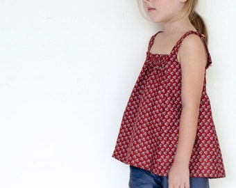 Olivia Top PDF pattern and tutorial - sizes 2t - 10 - childrens sewing pattern - Instant download