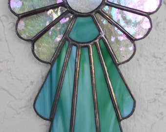 Stained Glass Angel Suncatcher, Blue Green #406