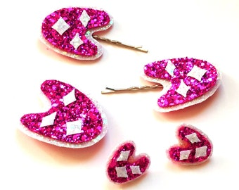 10% off with the code BDAY10  Glittered Fifties Atomic Boomerang Bobby Pins, Earrings and Brooch 25 colours