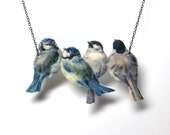 Bird necklace, vintage necklace, blue necklace, Blue Tits necklace, romantic necklace, handmade necklace, bird jewellery