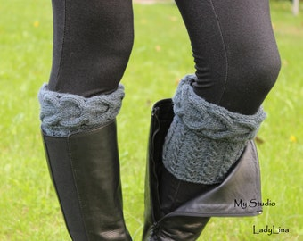 Cable Knit Boot Cuffs, Short Leg Warmers, Knit Boot Toppers, 100% Wool Boot Socks, Gift Wrapped