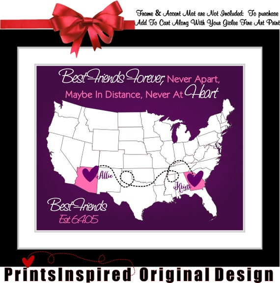 Personalized Best Friend Birthday Gift Long Distance Friendship Map ...