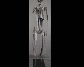One of a Kind Walking Man Abstract Human Figure Black Metal Sculpture By Jacob Novinger