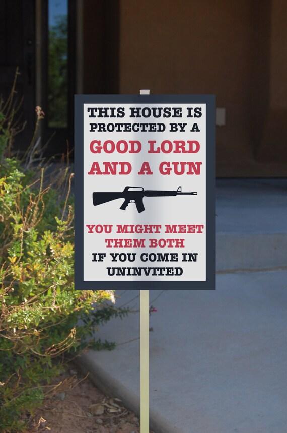 Self Home Protection Gun Rights Sign Hunter Yard Signs Rifle Shot Gun