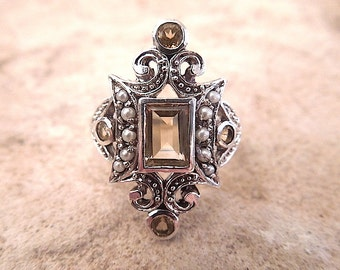 Art Deco Style Sterling Silver Ring w/ Seed Pearl - Citrine or Aquamarine