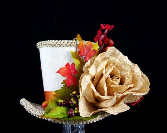 Autumn Garden Holiday Large Mini Top Hat Fascinator, Alice in Wonderland, Mad Hatter Tea Party, Fall, Leaves and Berries, Rose