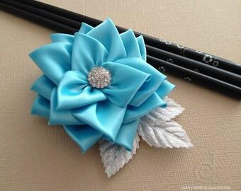 ON SALE Blue Flower Fascinator, Blue And Silver Wedding Hair Accessory, Bridal Headpiece, Prom Hair Clip, Satin Hair Flowers, Spring Summer