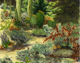 Giclee Archival Print from Original Watercolor Paintng 5.5x8.5 Desert Southwest Landscape Cactus Greens Rusts