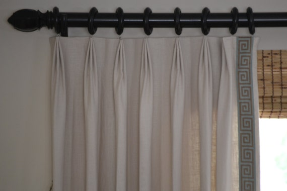 Pinch Pleat Drapes: Items Similar To Beige Linen Blend Drapes Small Pinch