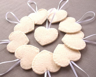 Set of 10 cream heart decorations, ivory wedding decor, wedding favors, felt heart ornaments, off white felt hearts, bridal decor