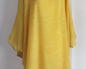 Casual/Formal Mustard Yellow Plus Size 3X Lightweight Top Poncho Tunic Floral Blouse Dolman Sleeves