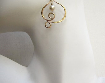 Gold Leaf Earrings Leaf Pearl Earrings Hammered Gold Earrings Leaf Earrings Gold Filled Earrings Scroll Earrings Artisan Earrings For Her