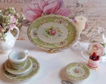 Staffordshire Rose Green Porcelain Dollhouse Tray