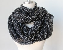 Infinity  scarf with music notes  black and white color   for Woman great accessory for your outfit