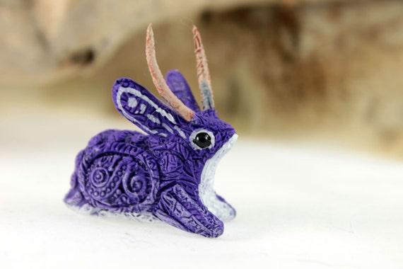 Jackalope sculpture rabbit hare totem figurine fantasy animal