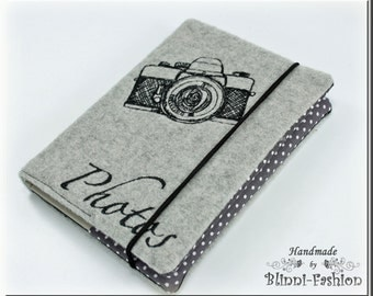 Photo album with embroideres camera, 24 pictures, light grey