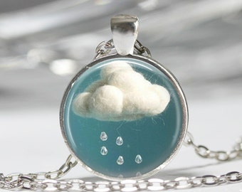Rain Cloud Pendant Necklace or Rain Cloud Keyring Rain Cloud Jewelry Rain Cloud Pendant Rain Cloud Necklace Raining Raindrop