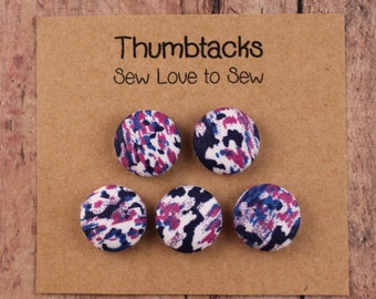 Fabric Covered Button Thumbtacks / Purples and Blues Thumbtacks / Purple Thumbtack / Purple Push Pins / Cork Board / Bulletin Board