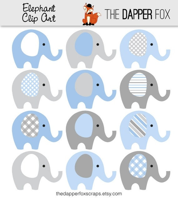 Blue and Grey Elephant Clip Art INSTANT DOWNLOAD Baby boy